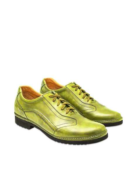 Pakerson  Shoes Pistachio Green Italian Handmade Leather Lace-up Shoes Green USA - GOOFASH - Mens FORMAL SHOES