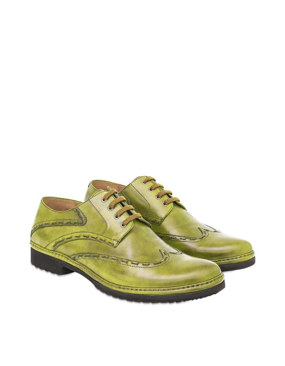 Pakerson  Shoes Pistachio Italian Handmade Leather Lace-Up Casual Shoes Light Green USA - GOOFASH - Mens FORMAL SHOES