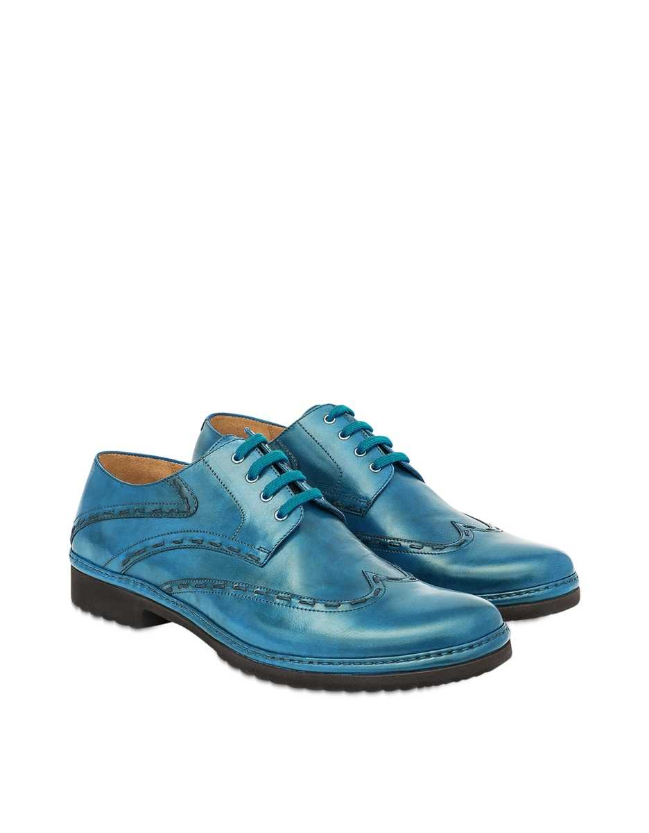 Pakerson  Shoes Sky Handmade Leather Lace-Up Casual Shoes Sky Blue USA - GOOFASH - Mens FORMAL SHOES