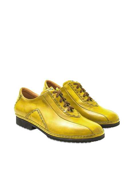 Pakerson  Shoes Yellow Italian Hand Made Calf Leather Lace-up Shoes Yellow USA - GOOFASH - Mens FORMAL SHOES