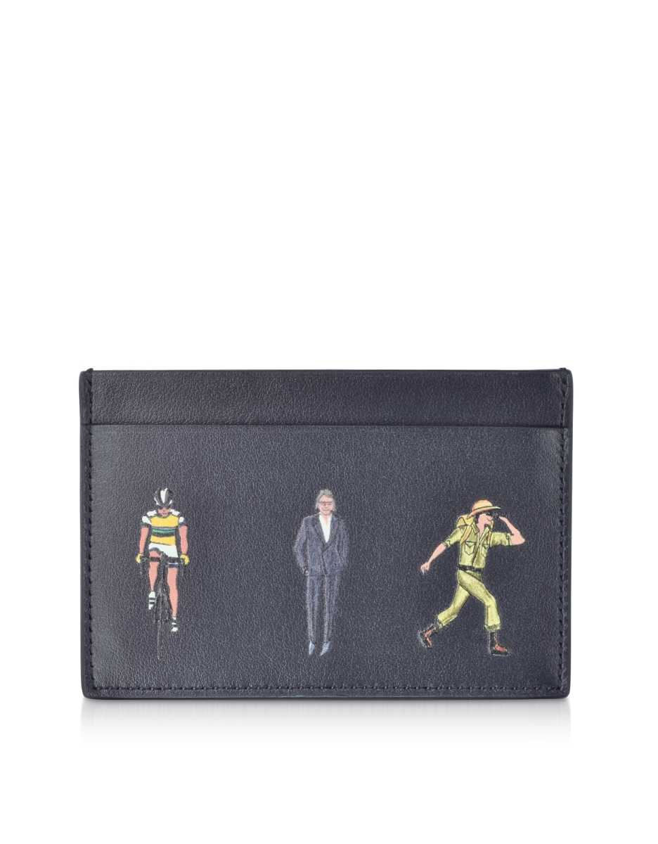 Paul Smith  Men's Bags Blue Leather People Print Men's Credit Card Case Wallet Navy Blue USA - GOOFASH - Mens BAGS