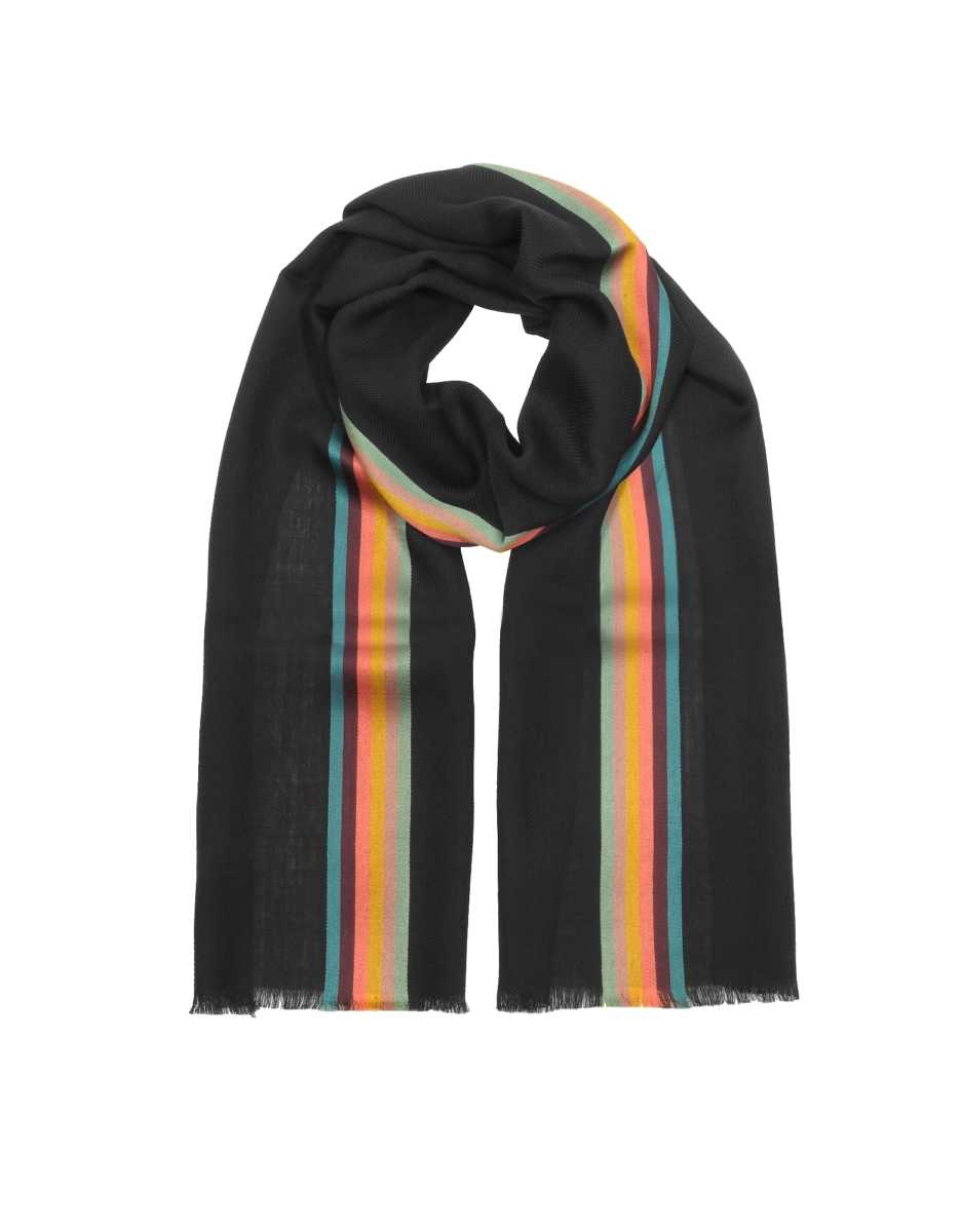 Paul Smith  Men's Scarves Artist Central Stirpe Men's Scarf Black USA - GOOFASH - Mens SCARFS