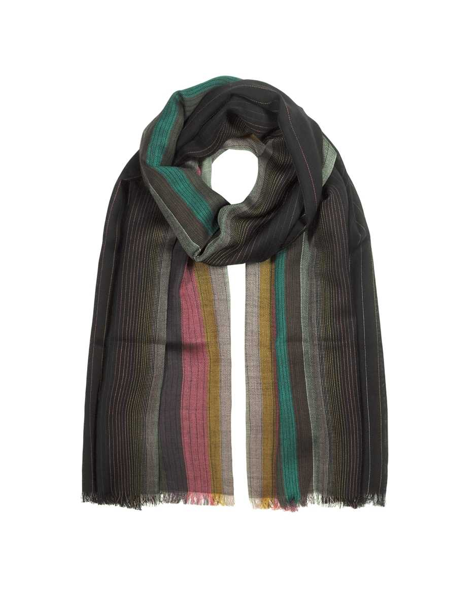 Paul Smith  Men's Scarves Multi Artist Graduation Men's Scarf Navy Blue USA - GOOFASH - Mens SCARFS