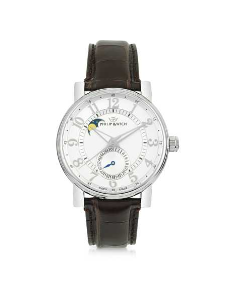 Philip Watch Men's Watches Wales Heritage Moon Phases Automatic Men's Watch White USA - GOOFASH - Mens WATCHES