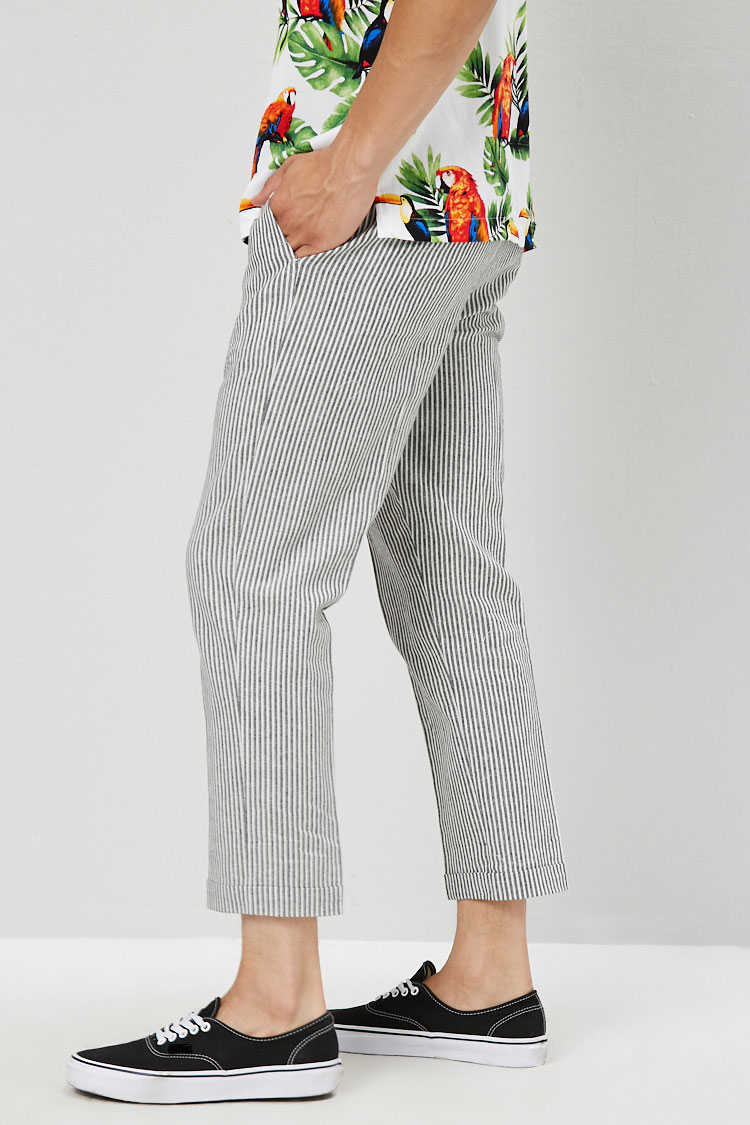 Pinstriped Linen-Blend Pants at Forever 21