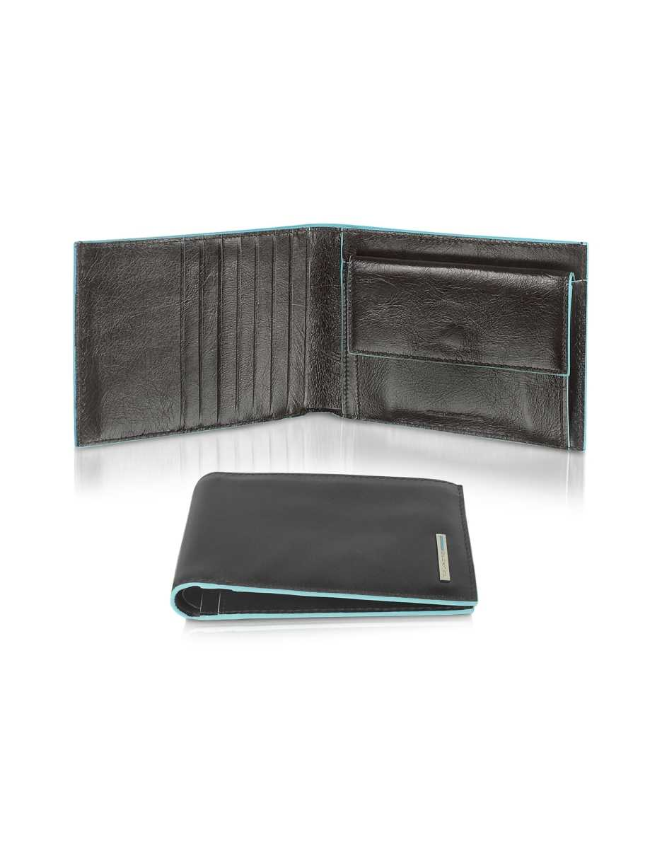 Piquadro  Wallets Blue Square-Men's Billfold Leather Wallet Black USA - GOOFASH - Mens WALLETS