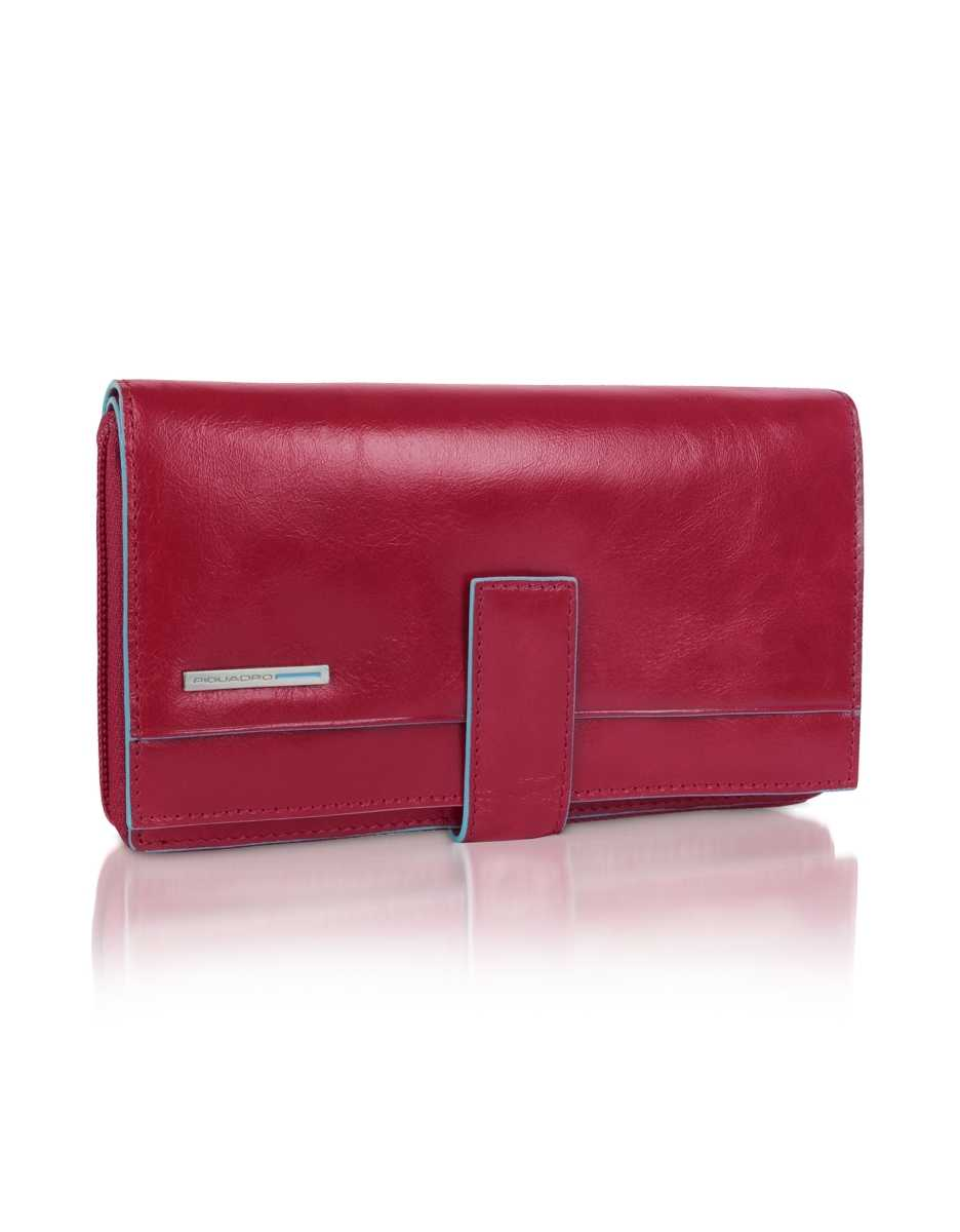 Piquadro  Wallets Blue Square - Red Zip Around Leather Wallet Red USA - GOOFASH - Womens WALLETS