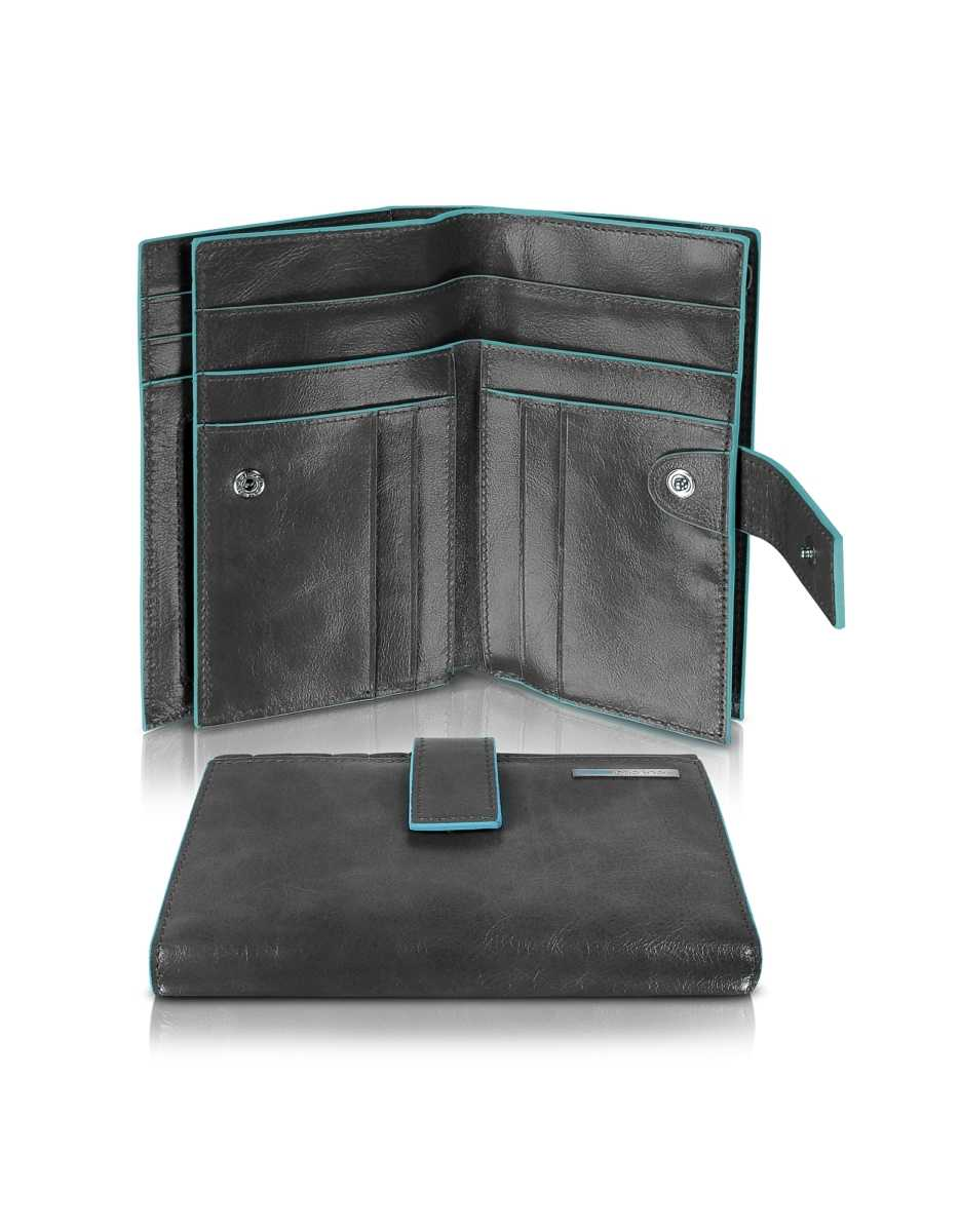 Piquadro  Wallets Blue Square - Women's Leather Card Holder & ID Wallet Black USA - GOOFASH - Womens WALLETS