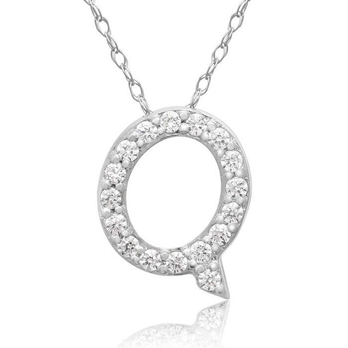 Q Initial Necklace in 18K White Gold (2.6 g) w/ 17 Diamonds