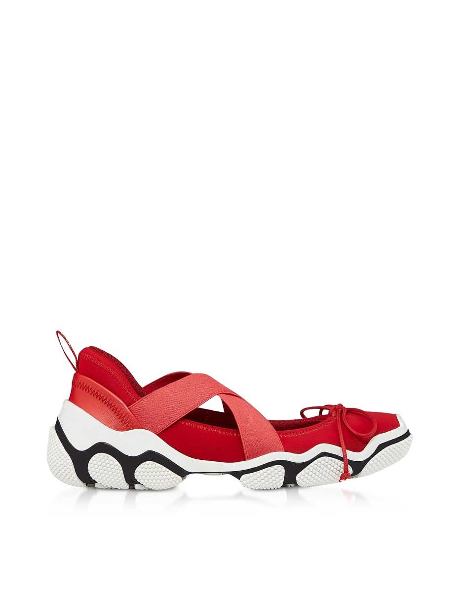 RED Valentino  Shoes Amarillo Nylon Criss Cross Sneakers Red USA - GOOFASH - Womens SNEAKER