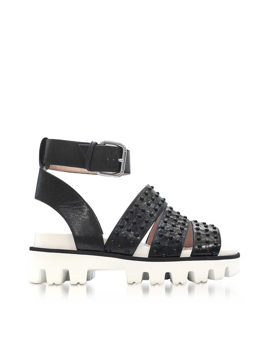 RED Valentino  Shoes Black Leather Flat Sandals w/Studs Black USA - GOOFASH - Womens SANDALS