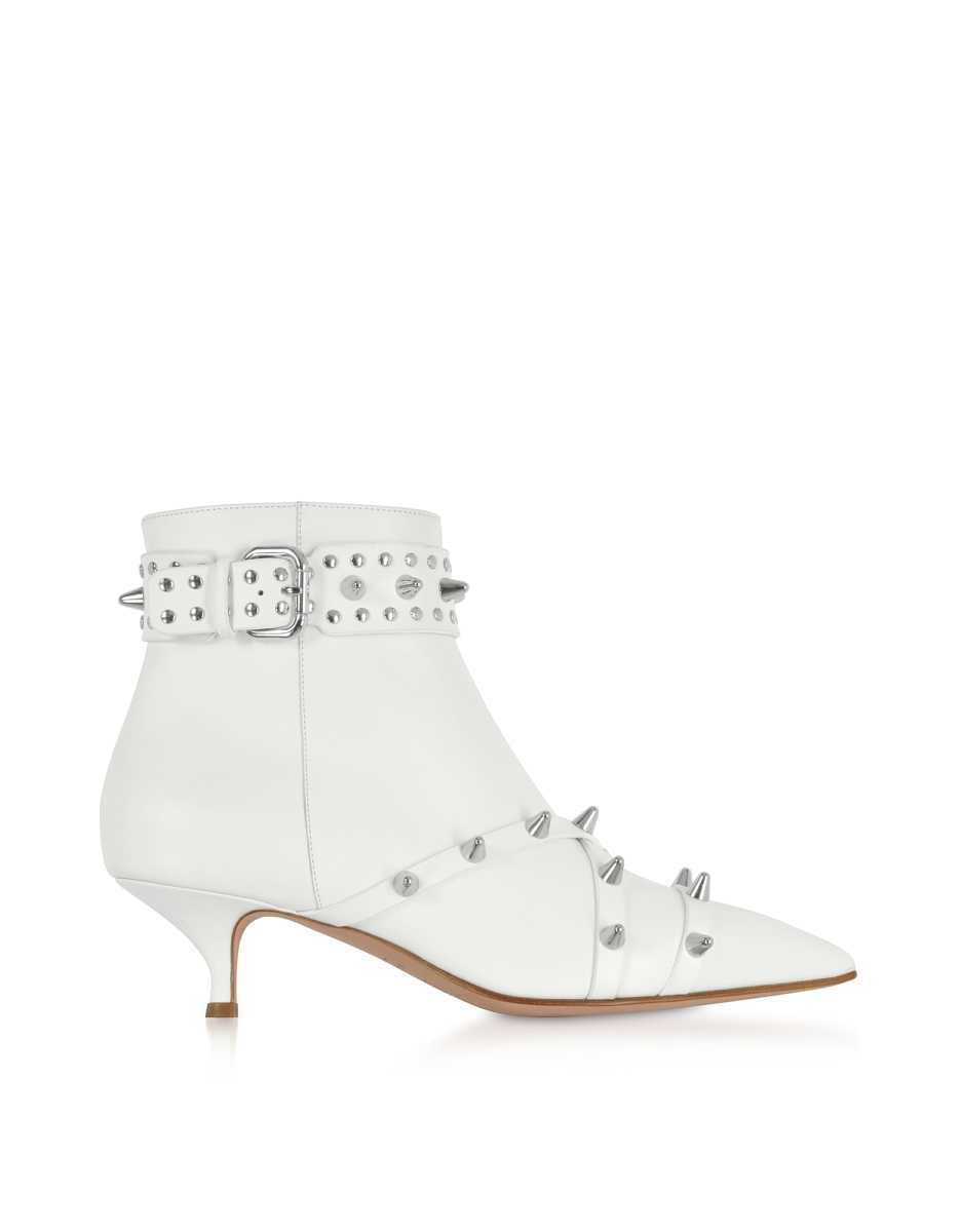 RED Valentino  Shoes Milk Leather Mid-Heel Ankle Boots Milk USA - GOOFASH - Womens ANKLE BOOTS