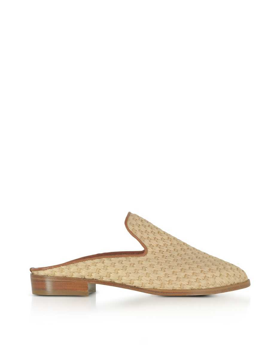 Robert Clergerie  Shoes Aliceop Natural Woven Raffia and Terracotta Brown Leather Flat Mules Beige USA - GOOFASH - Womens FLAT SHOES