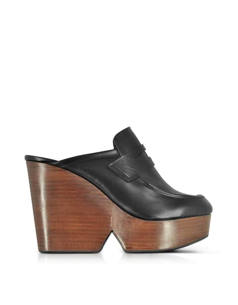 Robert Clergerie  Shoes Damor Black Leather Wedge Mule Black USA - GOOFASH - Womens HOUSE SHOES