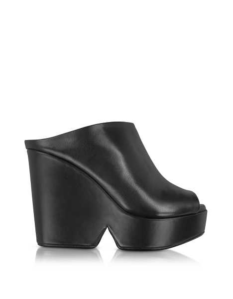 Robert Clergerie Shoes Dina Black Leather Wedge Mule Black USA - GOOFASH - Womens HOUSE SHOES