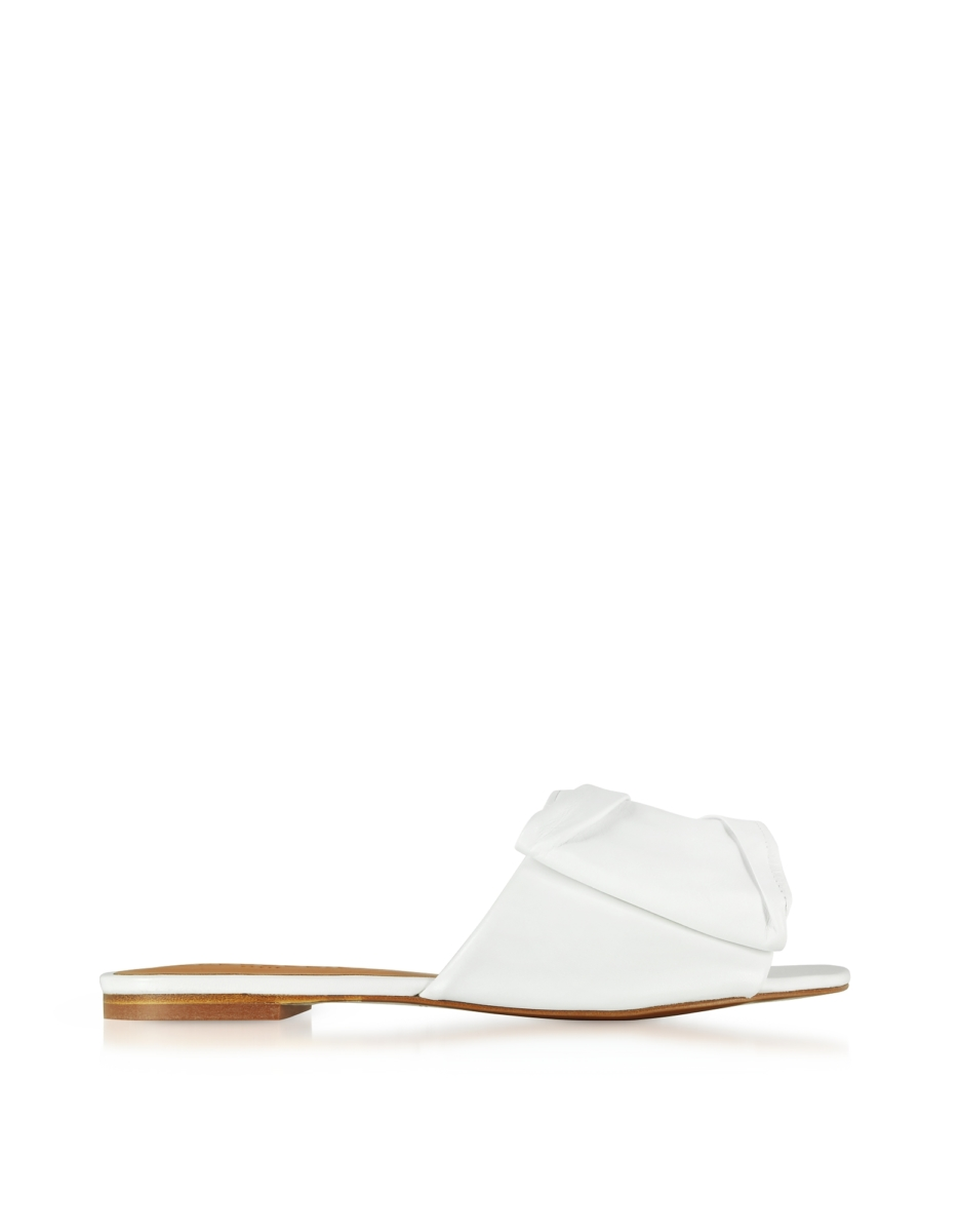 Robert Clergerie  Shoes Igad White Leather Flat Sandals White USA - GOOFASH - Womens SANDALS