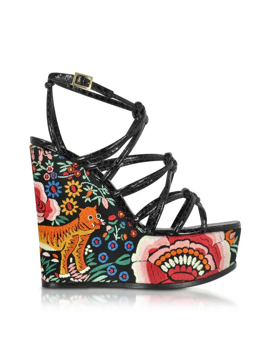 Roberto Cavalli  Shoes Floral Embroidered Black Leather Wedges Black USA - GOOFASH - Womens HOUSE SHOES