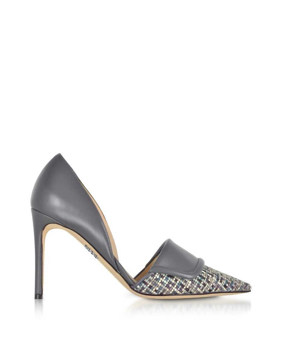 Rodo  Shoes Leather and Tweed High Heel Pumps Gray USA - GOOFASH - Womens PUMPS