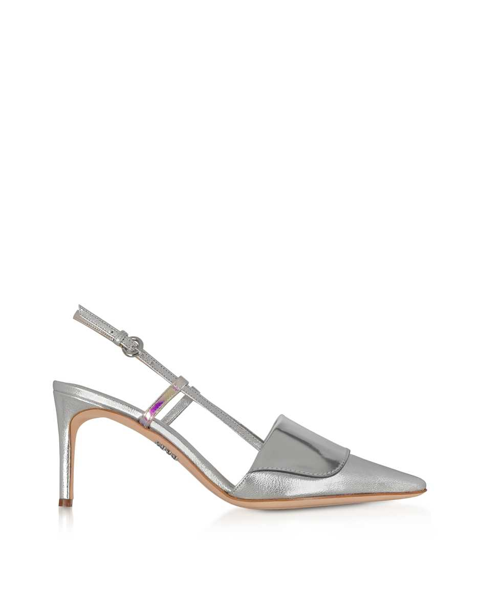 Rodo  Shoes Silver Leather Women's Slingback Pumps Silver USA - GOOFASH - Womens PUMPS