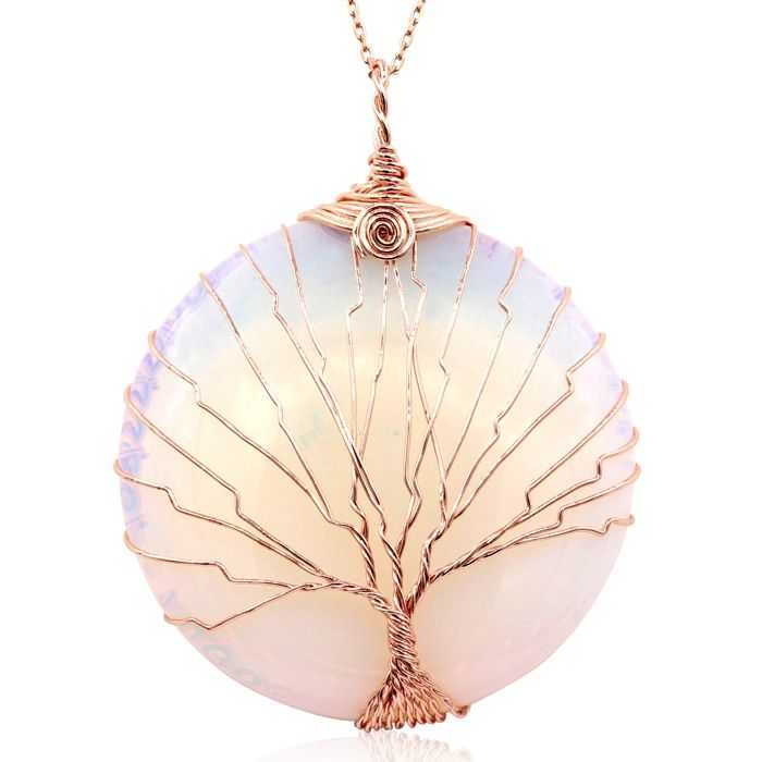 Rose Gold (23 g) Tree of Life Wire Wrapped Created Opal Circle Necklace