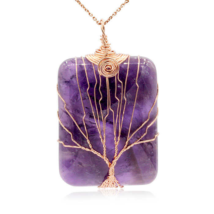Rose Gold Tree of Life Wire Wrapped Amethyst Necklace