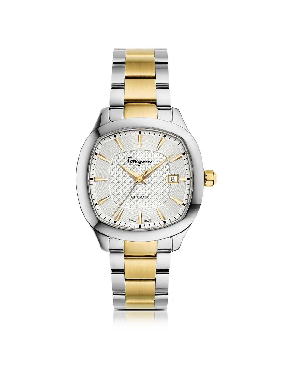 Salvatore Ferragamo  Men's Watches Ferragamo Time Silver Stainless Steel and Gold IP Men's Automatic Watch w/Silver Guilloche' Dial Silver USA - GOOFASH - Mens WATCHES