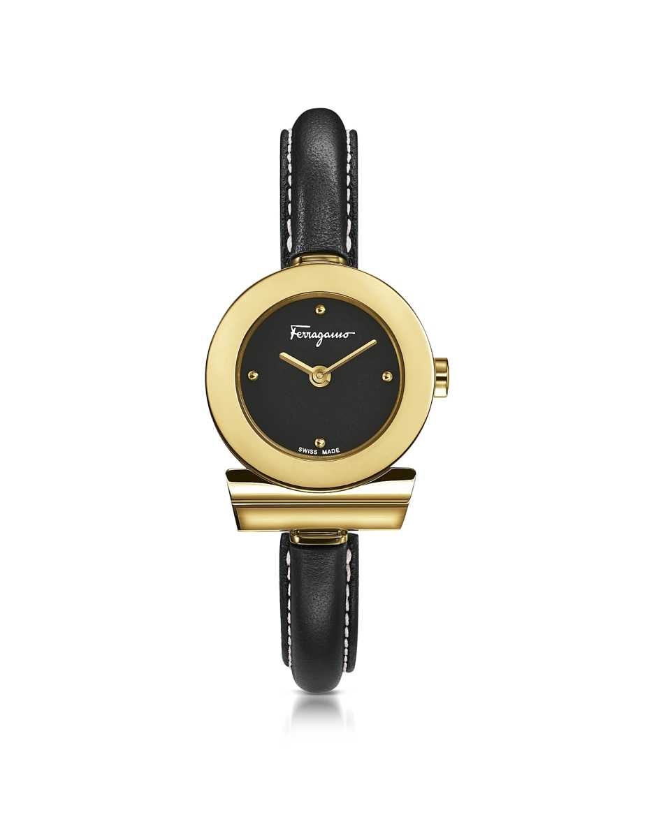 Salvatore Ferragamo  Women's Watches Gancino Gold IP Stainless Steel and Black Leather Strap Women's Watch Gold USA - GOOFASH - Womens T-SHIRTS
