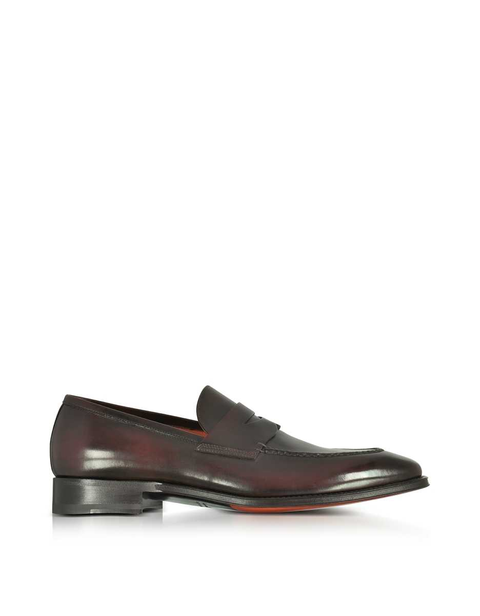 Santoni  Shoes Duke Dark Brown Leather Penny Loafer Shoes Dark Brown USA - GOOFASH - Mens LOAFERS