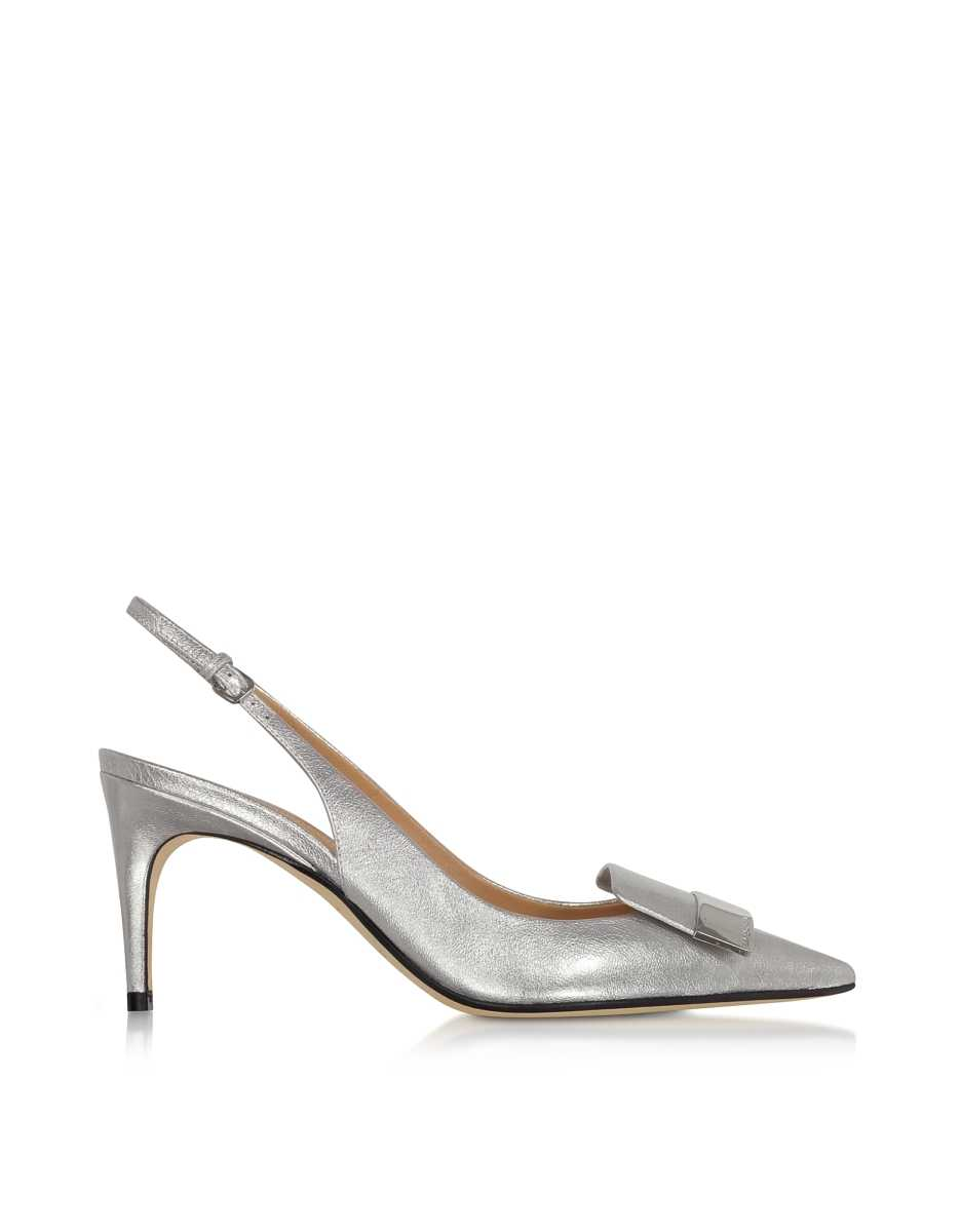 Sergio Rossi  Shoes Silver Glacee Mid-heel Slingback Pumps Silver USA - GOOFASH - Womens PUMPS