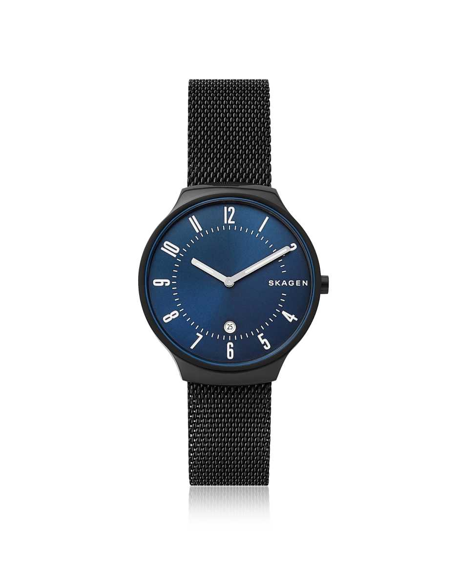 Skagen  Men's Watches Grenen Black Steel Mesh Men's Watch Black USA - GOOFASH - Mens WATCHES