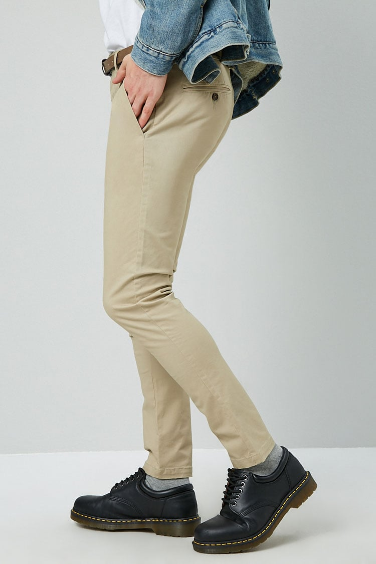 Slim-Fit Chino Pants & Belt Set at Forever 21