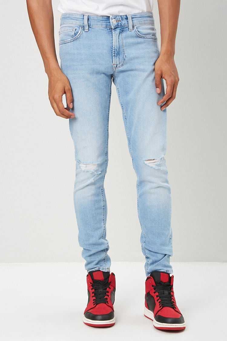 Slim Fit Distressed Jeans at Forever 21