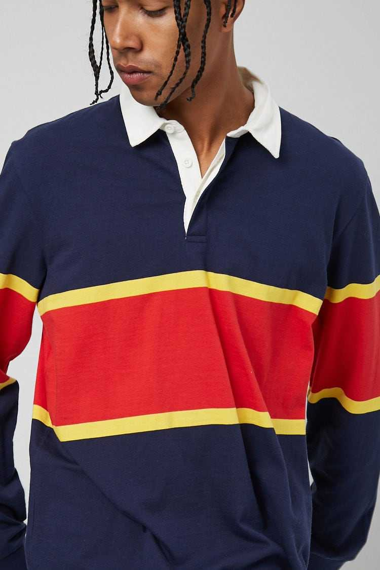 Slub Knit Colorblock Polo at Forever 21