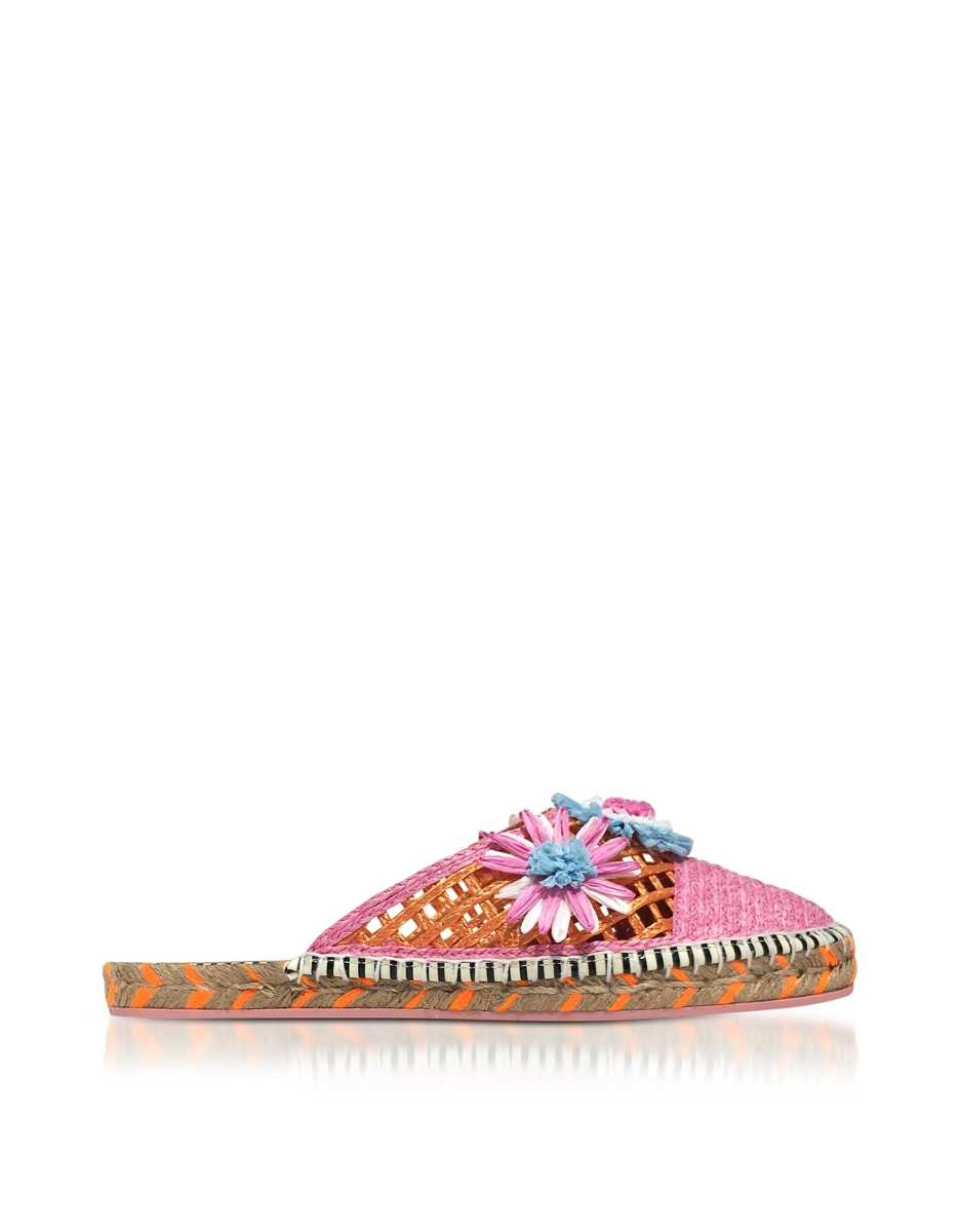 Sophia Webster  Shoes Jute and Leather Tansy Espadrille Slippers Pink USA - GOOFASH - Womens SLIPPERS