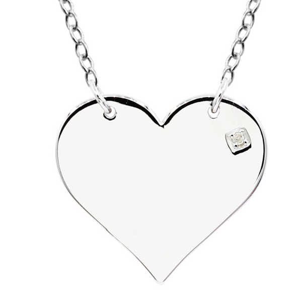 Sterling Silver Diamond Heart Necklace w/ Free Custom Engraving