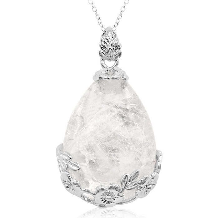 Sterling Silver Quartz Teardrop Necklace w/ Rose Accents