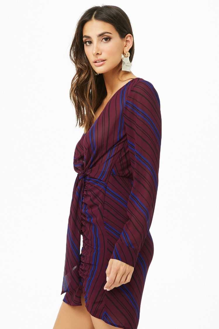 Striped Tie-Front Mini Dress at Forever 21