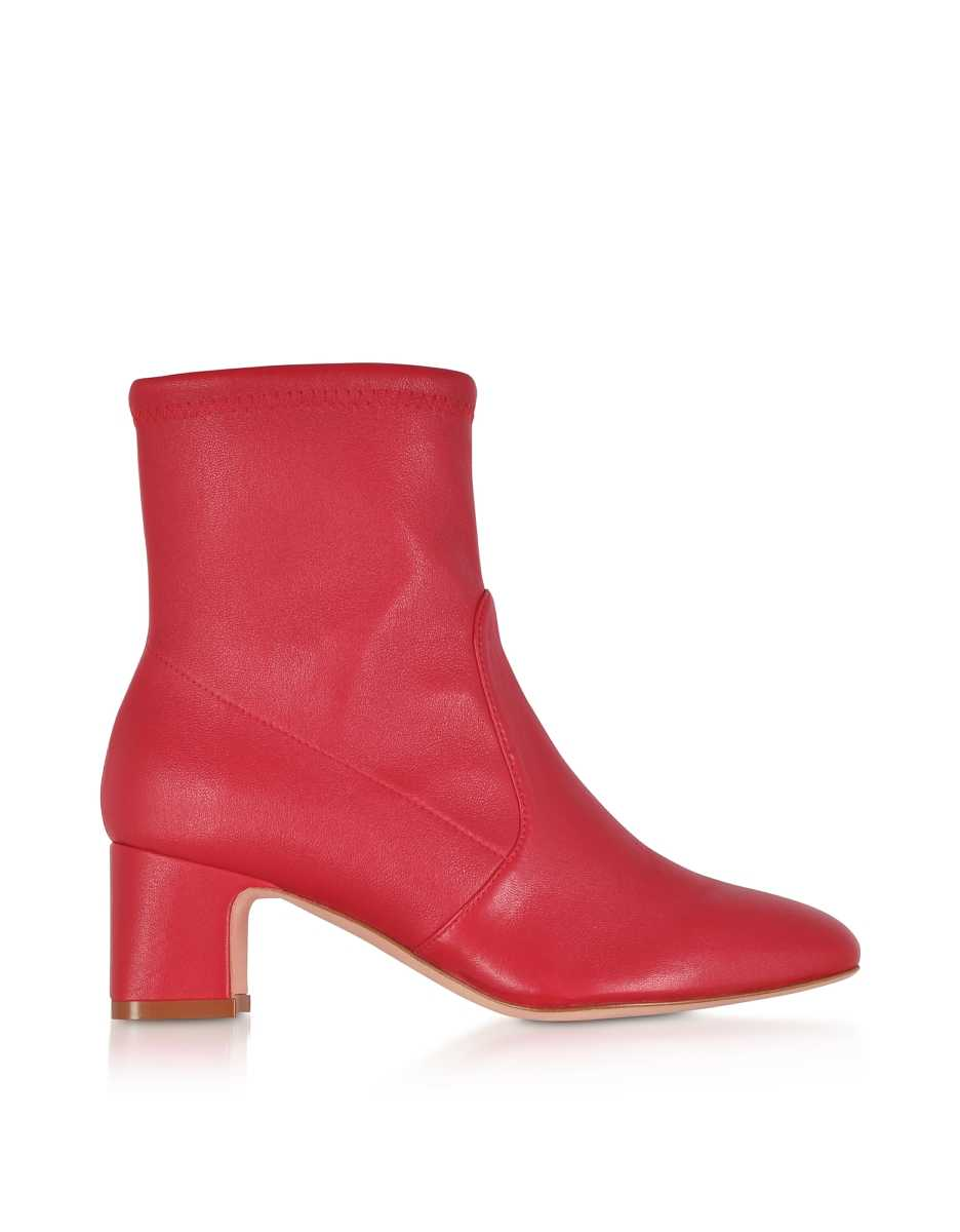 Stuart Weitzman  Shoes Niki 60 Red Stretch Nappa Ankle Boots Red USA - GOOFASH - Womens ANKLE BOOTS