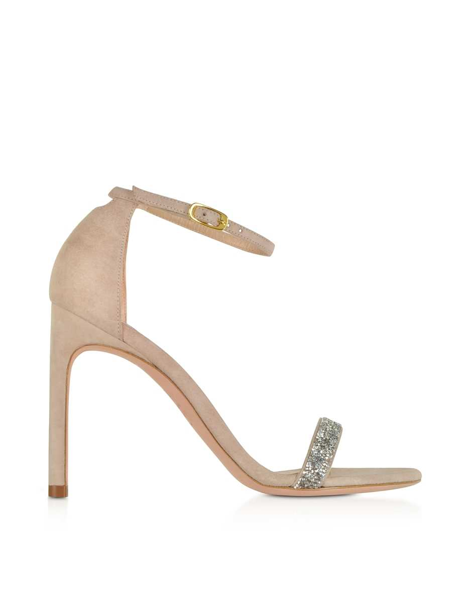 Stuart Weitzman  Shoes Nudistsong Suede and Crystals High Heel Sandals Pink USA - GOOFASH - Womens SANDALS