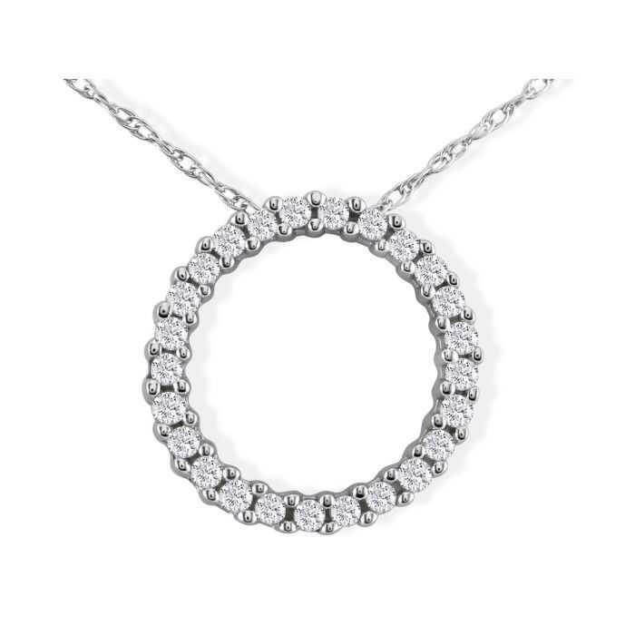 Sweet & Sparkly 1/10 Carat Circle Diamond Pendant Necklace in White Gold
