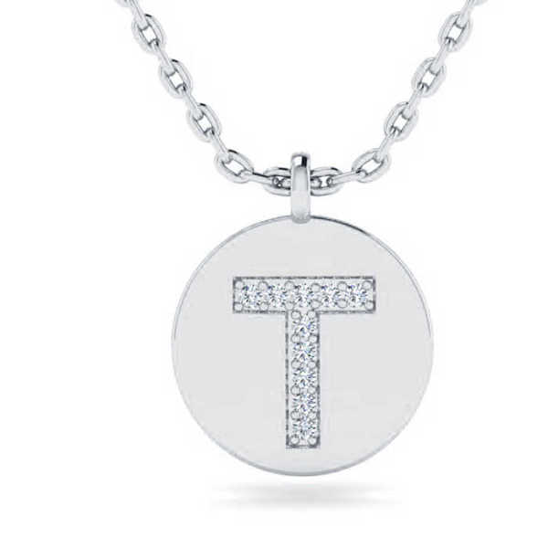 T Initial Necklace in 14K White Gold (2 g) w/ 10 Diamonds
