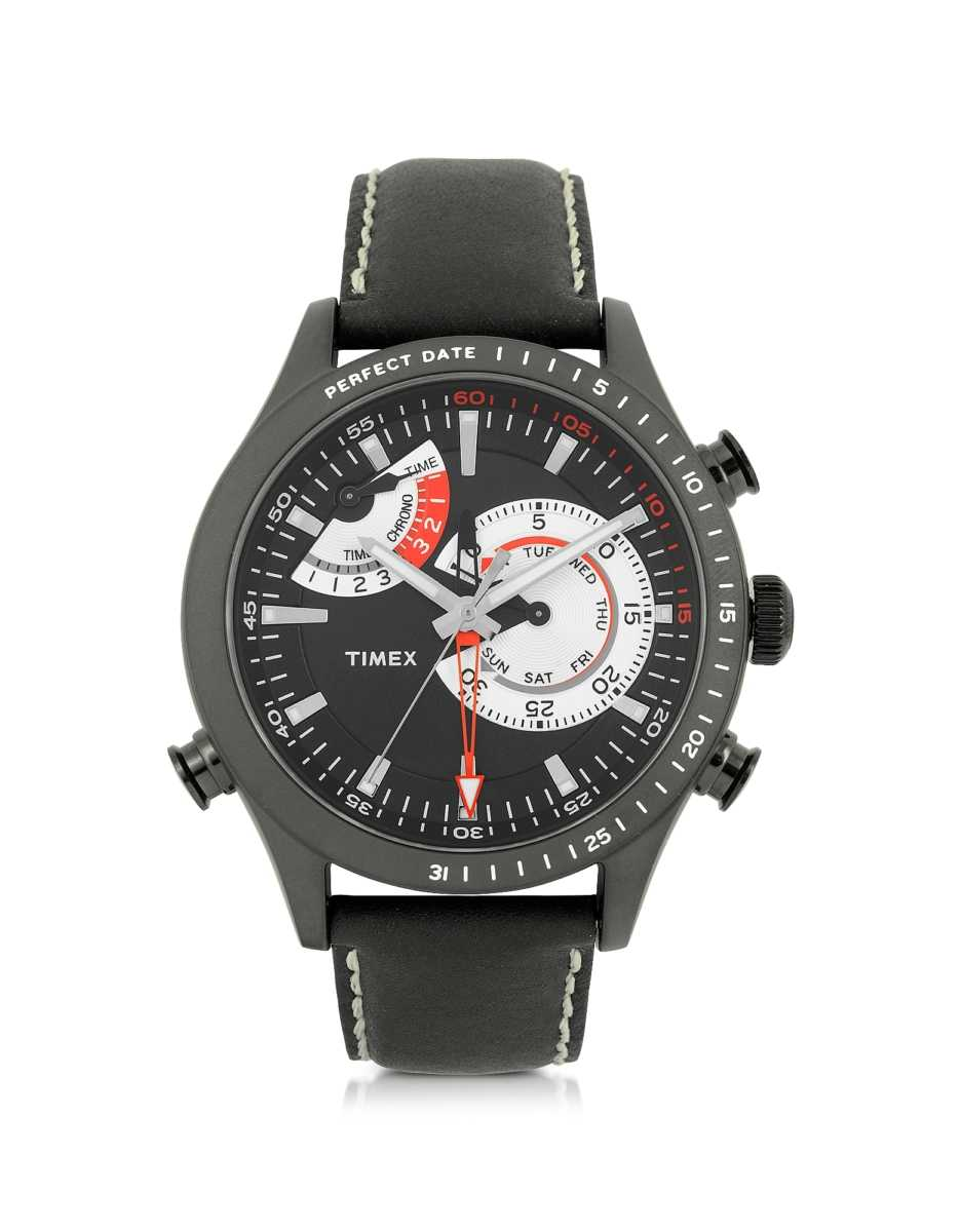 Timex  Men's Watches Chrono Timer Black Stainless Steel Case and Leather Strap Men's Watch Black USA - GOOFASH - Mens WATCHES