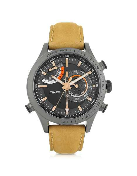 Timex Men's Watches Chrono Timer Gray Stainless Steel Case and Tan Leather Strap Men's Watch Gray USA - GOOFASH - Mens WATCHES