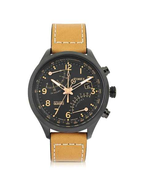 Timex Men's Watches Fly Back Chrono Black Stainless Steel Case and Tan Leather Strap Men's Watch Black USA - GOOFASH - Mens WATCHES