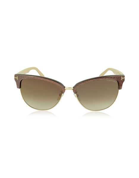 Tom Ford Sunglasses FANY FT0368 50G Brown Acetate and Gold Metal Cat Eye Sunglasses Gold Brown