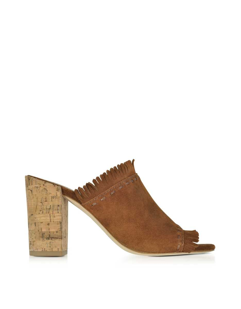 Tory Burch  Shoes Huntington Festival Brown Suede High Heel Mules w/Fringes Brown USA - GOOFASH - Womens HIGH HEELS