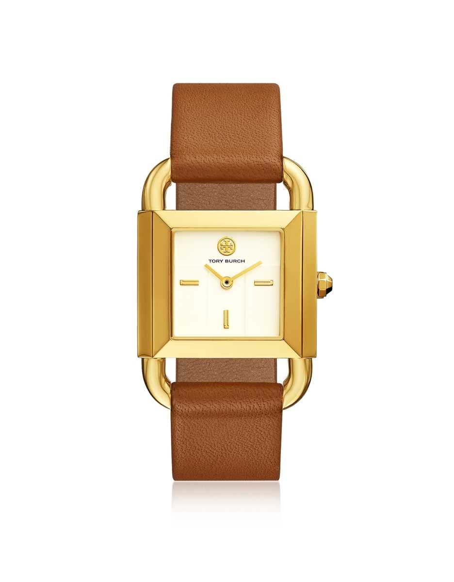 Tory Burch  Women's Watches Phipps Luggage Leather Gold Tone Watch Gold USA - GOOFASH - Womens WATCHES