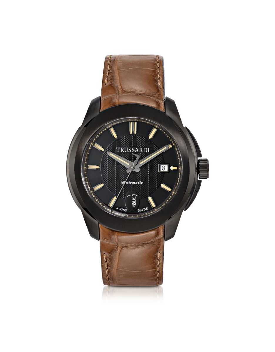 Trussardi  Men's Watches T01 Gent Black Stainless Steel w/Brown Croco Strap Men's Automatic Watch Black USA - GOOFASH - Mens WATCHES