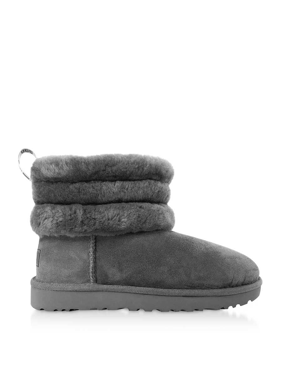 UGG  Shoes Charcoal Fluff Mini Quilted Boots Dark Gray USA - GOOFASH - Womens BOOTS