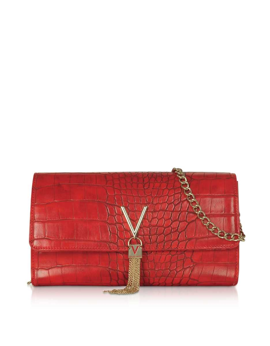 Valentino by Mario Valentino  Handbags Audrey Croco Embossed Eco Leather Clutch Red USA - GOOFASH - Womens BAGS